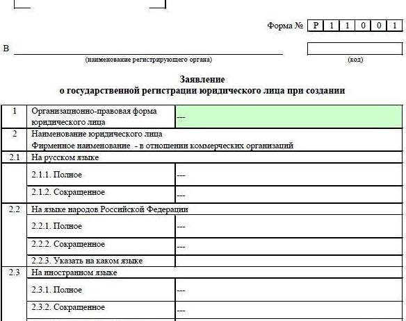 заявление о государственной регистрации некоммерческой организации рн0001