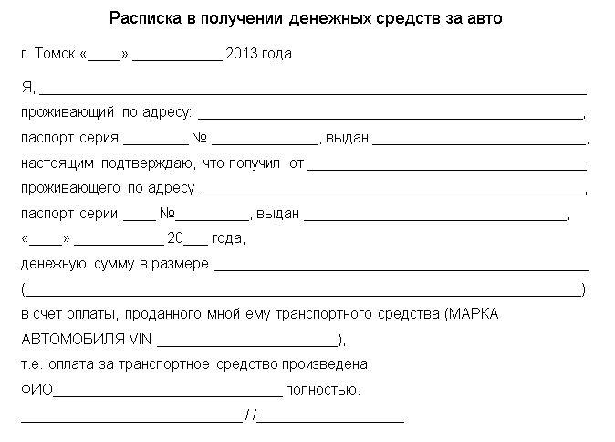 Образец расписки при получение денег за авто ростов на дону кредит под залог авто