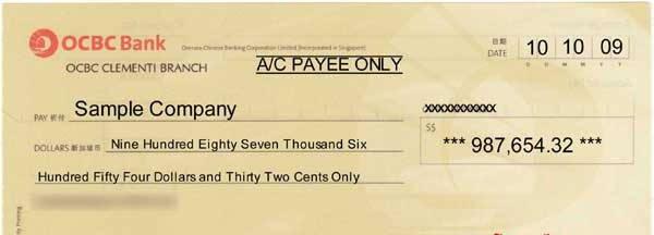 банковский чек образец