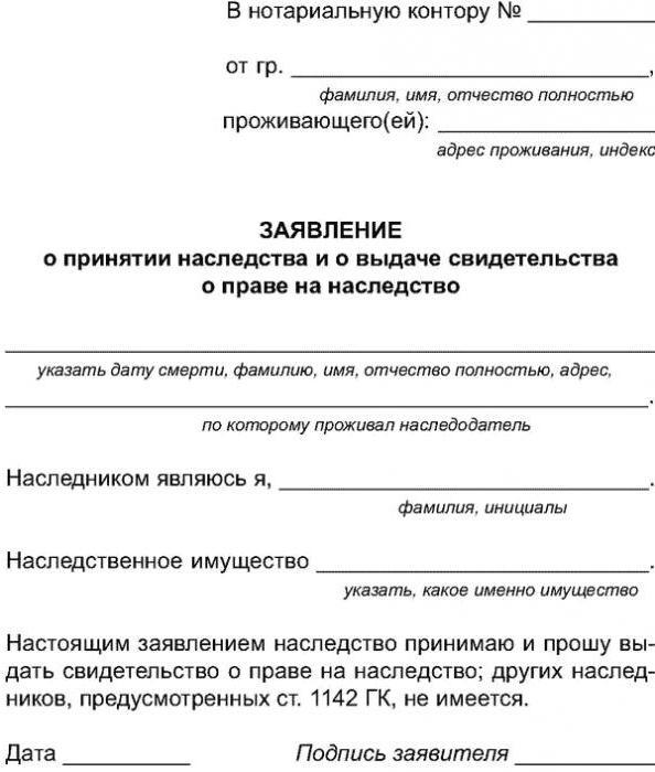 Образец заявления нотариусу о вступлении в наследство и правила его подачи