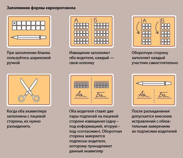 Образец заполнения Европротокола: форма, бланк и правила заполнения