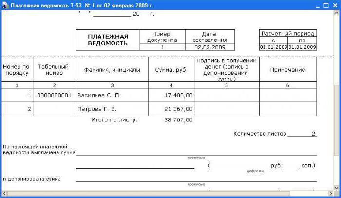 Образец заполнения ведомости депонированной зар платы