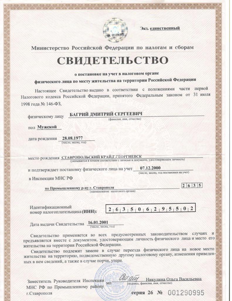 ип свидетельство о регистрации кпп