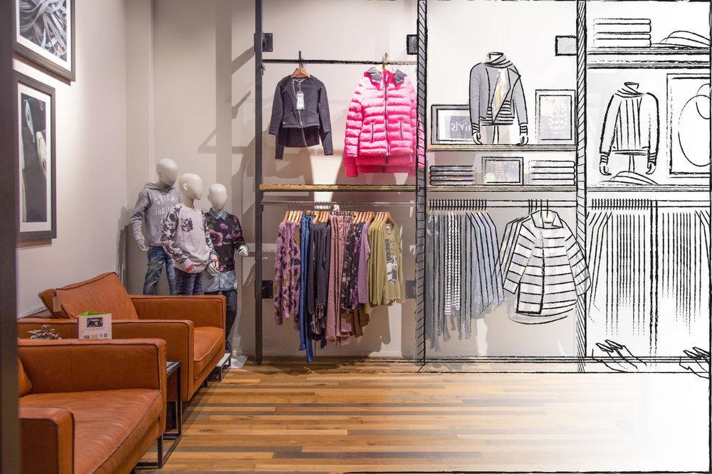 рисунок магазина одежды внутри того, что